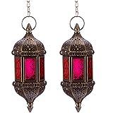 Nuptio 2 Piezas Hexágonos Colgantes Decorativos de la Linterna de la Vela Marroquí, Porta Colgadores Hechos a Mano de té en Metal Marrón y Artículos de Decoración y Regalo de Cristal Rojo y Púrpura