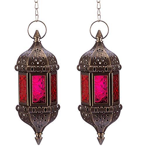 Nuptio 2 Stücke Hängende Sechseck Dekorative Marokkanische Kerzenlaternenhalter, Handgefertigter Hängender Teelichthalter aus Braunem Metall & Rotem & Lila Glas Geschenk & Dekorartikel