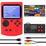 KIDWILL Handheld Game Console, 800mAh Battery Powered Portable Mini Game Player with 500 Retro FC Games, 3.0 Inch Color Screen Retro Game Console Support TV Out & Two Players for Kids Adults(Red)