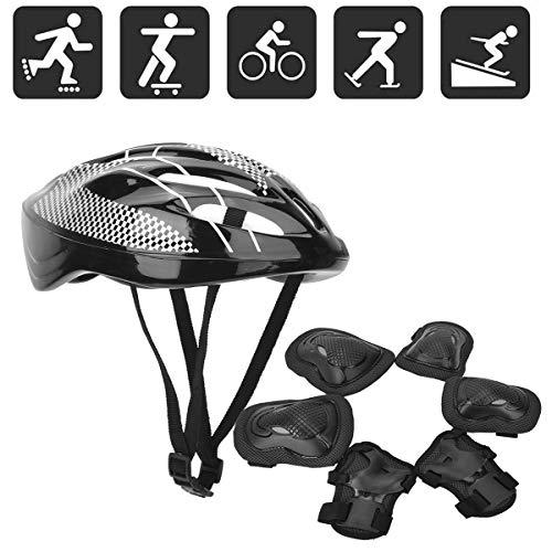 Aisheny 7-Teilige Rollschuh-Schutzausrüstung für Erwachsene Einschließlich 2 Knieschützer 2 Ellbogenschützer 2 Handflächenschützer 1 Helmschutz Elektrisches Gleichgewicht Auto Fahrrad