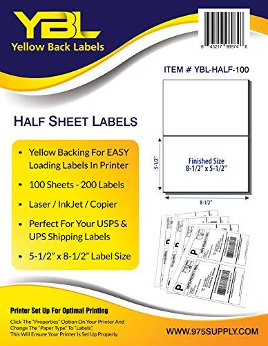 YBL Labels - Half Sheet Labels - Shipping / Mailing Labels - 5-1/2' x 8-1/2' Labels - 200 Labels