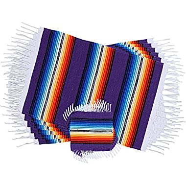 Threads West Colorful Fringed Mexican Serape Place Mats and Coasters Designed in Traditional Mexican Serape Blanket Material. Set of 6 Placemats and 6 Coasters (Purple)