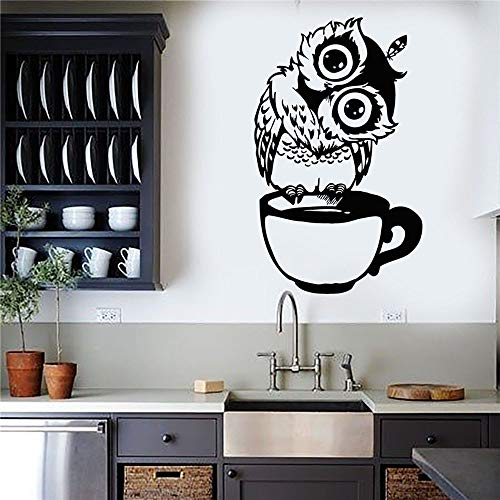 HNXDP Lustige Cartoon Eule Tasse Tee Kaffee Vinyl Wandtattoo Für Küche Aufkleber Wohnkultur Wohnzimmer Esszimmer Wandaufkleber 13 mittelblau 57x93 cm