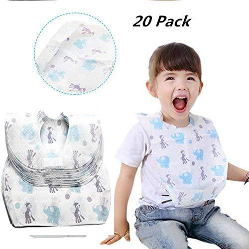 20Stück Einweg Lätzchen, wasserdicht Vliesstoff Essen Speichel Papier Lätzchen für Babys