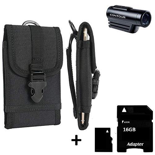 K-S-Trade® Bolsa del Cinturón/Funda para Contour Roam 3, Negro | Caja del Cámara Compacta Cubierta Protectora Bolso, Negro + 16GB Tarjeta De Memoria