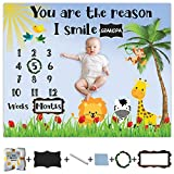 """Baby Milestone Blanket for Baby Boy and Girl, Large 60"""" x 48"""" Premium Soft Fleece Blanket with Wreath, Frame and Chalkboard with Chalk to Personalize Baby's Loved One's Name, Jungle Theme"""