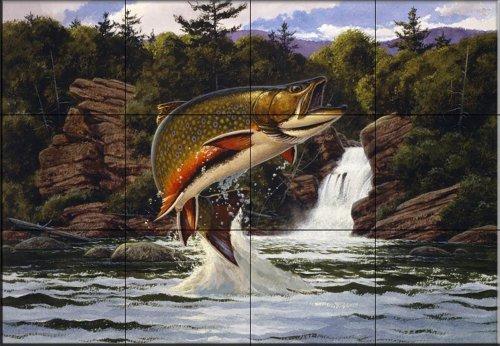 Cerámica de azulejos - trucha de arroyo 2 - por John Rice - salpicaduras de la cocina / baño de ducha