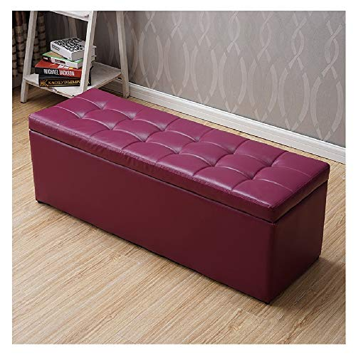 Fußbank Truhen Foldable Ottoman Storage Box, Bench with Storage Space ,Foldable Seat Box, Upholstery Stool, Leather, Choice of Colours Sitzhocker mit Stauraum (Color : Purple, Size : 40 * 40 * 40cm)