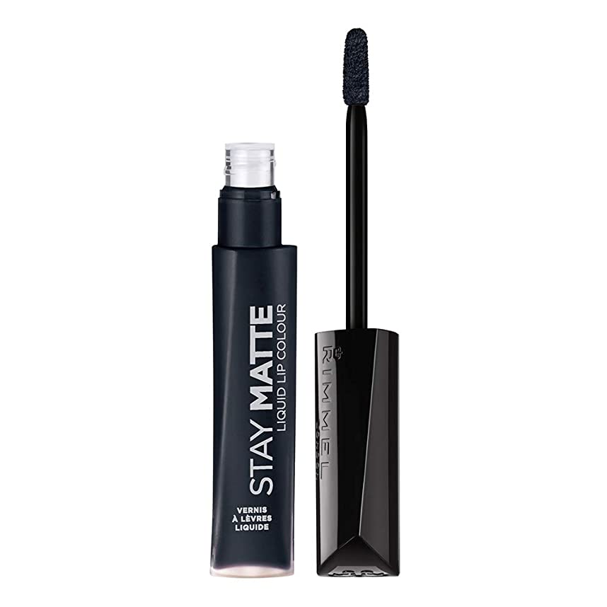 予感コードカバレッジRIMMEL LONDON Stay Matte Liquid Lip Color - Pitch Black (並行輸入品)