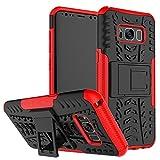JMstore Funda Compatible con Samsung Galaxy S8 +Pantalla Vidrio Templado Combinación A Prueba Choques Carcasa móviles(Rojo)