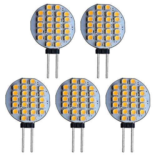 5 Stück G4 24 SMD 1 Watt Warmweiß Rund 12V DC Stiftsockel 120° Leuchtmittel Lampensockel Halogenersatz Halogen Lampe 10W