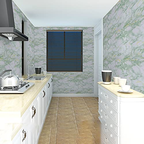 Wolpin Wall Stickers Marble Wallpaper Furniture (60 x 300 cm) Kitchen, Cabinets, Almirah, Tabletop, Plastic Table, Wooden Table, Wardrobe, Renovation PVC DIY Self Adhesive, White and Green