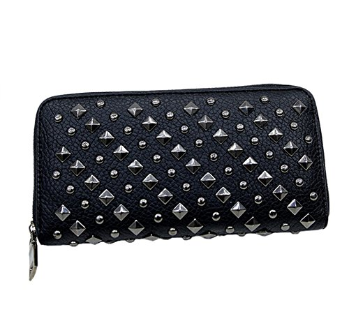 Punk Cartera Mujeres Billetera Remache de Carpeta de Cuero de Monedero Bolso De Embrague Moda
