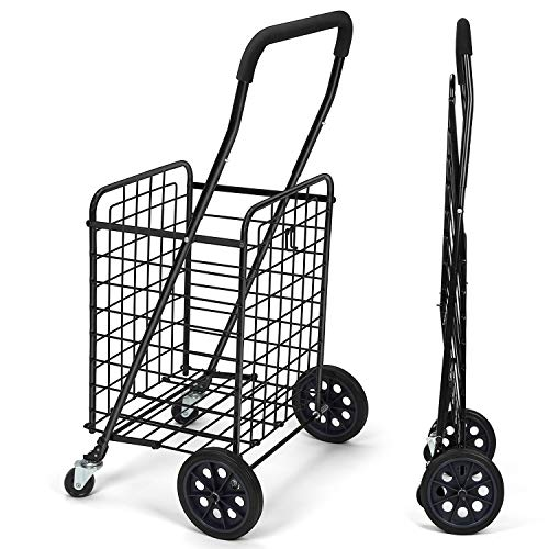 Pipishell Shopping Cart with Dual Swivel Wheels for Groceries - Compact Folding Portable Cart Saves...
