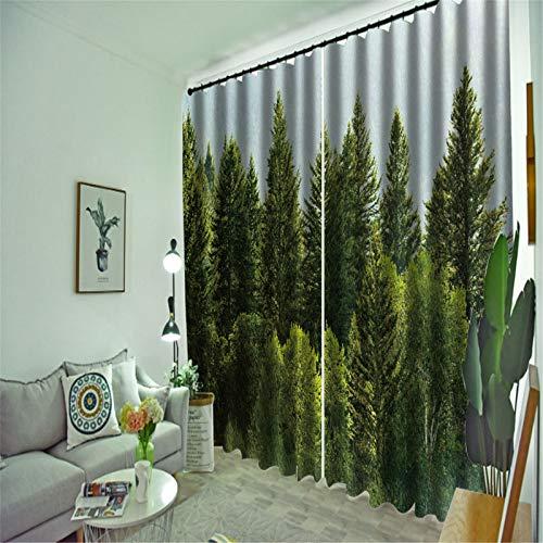 FACWAWF Cortina De Tela De Poliéster con Patrón De Planta Verde Tridimensional 3D 132x160cm(2pcs)