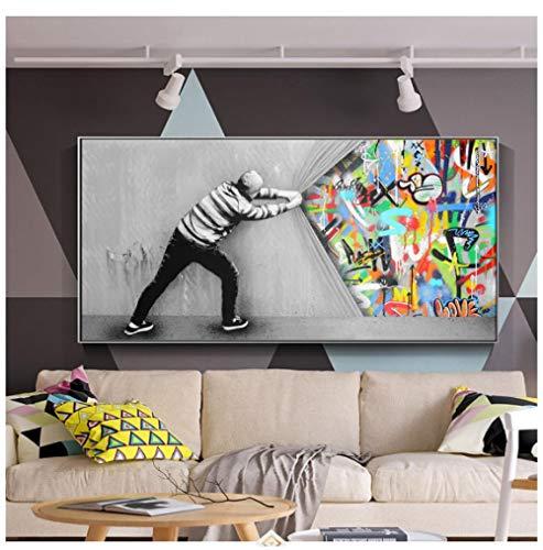 Cqzk Graffiti Kunst Wandbilder Für Wohnzimmer Hinter Dem Vorhang Street Art Leinwand Gemälde An Der Wand Poster Und Drucke 70x140 cm kein Rahmen