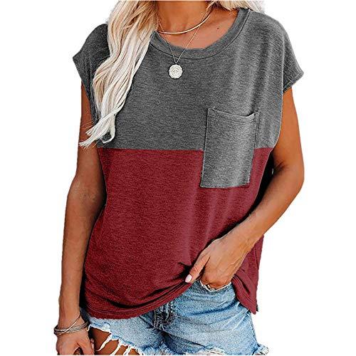 SLYZ 2021 Ladies Summer New Camiseta Suelta De Manga Corta Estampada con Bolsillo De Empalme Top para Mujer