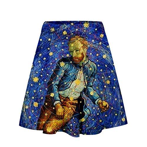 XINGLU Van Gogh 3D Impreso Digital Faldas Cortas de una línea Casual para Mujeres I XL