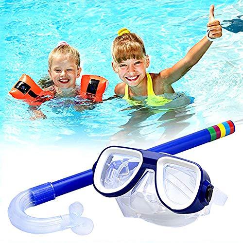 QWERT 2 Piezas Easybreath Gafas de Bucear Niños Máscara de Buceo Máscara Snorkel Tubo Respirador Anti-Niebla Gafas de Natación Set de Buceo 3-10 Años de Edad,Azul