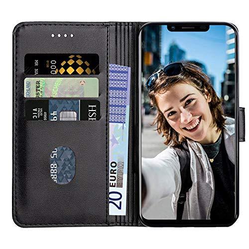 Baiyian Funda de Cuero Cartera Flip Cover Compatible con Ulefone S10 Pro, Negro