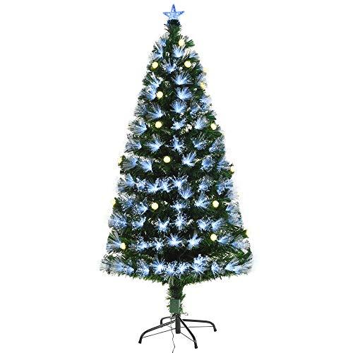 homcom 120cm Albero di Natale Artificiale Decorazione Natalizia, Rami 130 con Luci a LED Fibre Ottiche, Base Pieghevole Rimovibile