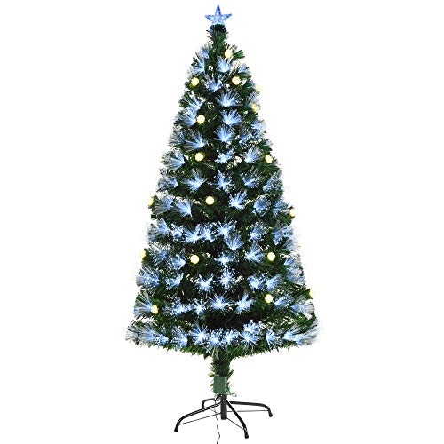HOMCM 4ft Tall Artificial Tree White Fiber Optic LED Pre-Lit Holiday Home Christmas Decoration with Light Ball, Green