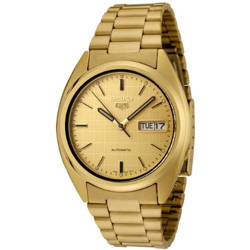 Seiko Men's SNXL72 Seiko 5 Automatic Gold Dial Gold-Tone Stainless Steel Watch