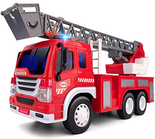 Gizmovine Fire Truck Toy with Lights and Sounds, Extending Rescue Rotating Ladder Pull Back Construction Vehicles Toys Gift for 3, 4, 5, 6 Year Olds Boys, 1:16 Scale