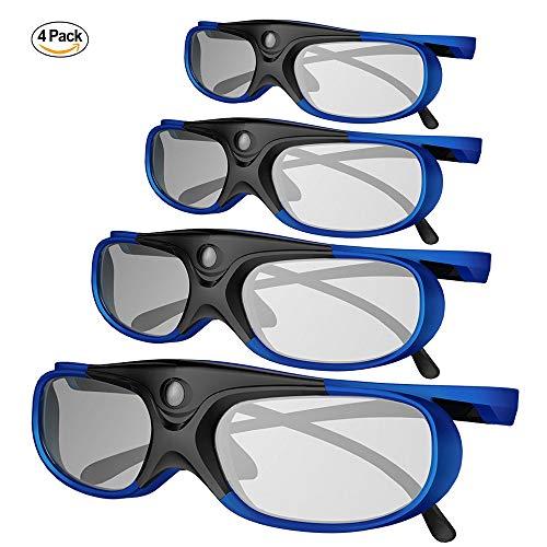 3D DLP Link Glasses, ELEPHAS 144Hz Rechargeable Active Shutter Eyewear for All 3D DLP-Link...