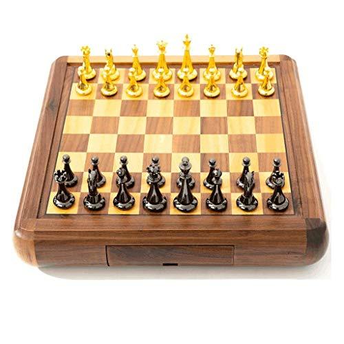 GLXLSBZ Juego de ajedrez para niños y Adultos, colección de Juegos clásicos, Juego de ajedrez de Metal con Tablero de Madera, Almacenamiento (Juego de Rompecabezas)