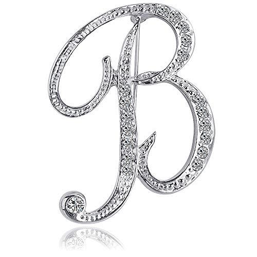 ETHOON Letter Brooch Pins Initial Rhinestone Brooch for Women Crafts Silvery B