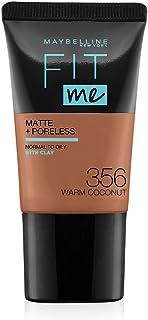 Maybelline New York Fit Me Matte Plus Poreless Foundation Cream, 18 ml - 356 Warm Coconut