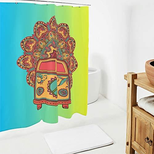 BOBONC Peace and Love Car Mandala Flower patroon douchegordijn antibacterieel topkwaliteit gordijn badkamer gordijn woonaccessoires
