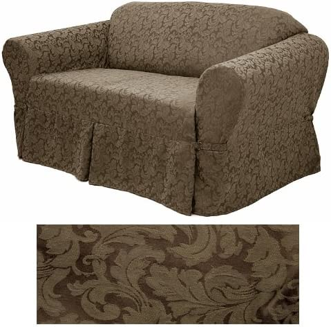 Damask Chocolate Cash special price Furniture Slipcover Loveseat 578 Popular brand in the world
