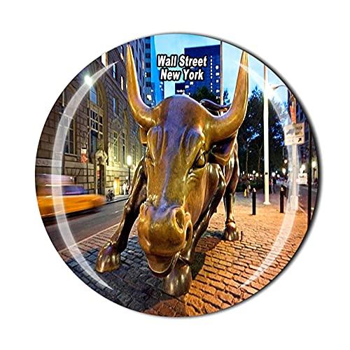 Wall Street New York USA Imán para nevera de viaje recuerdo 3D cristal decoración del hogar cocina magnética pegatina
