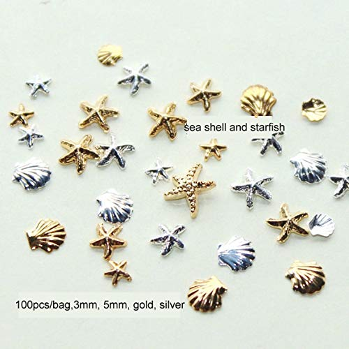 Kamas 100PCS 3MM&5M 3D Metal Sea Shell Starfish Mixed Gold Silver Nail Art Tools Rhinestone Stud Spike Nail Tips Stickers Accessories