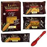 Le Veneziane Gluten Free Pasta Noodles Variety Pack Includes [1] Penne Pasta Rigate [1] Spaghetti [1] Anellini and [1] Capellini ~ Corn Pasta ~ 4 Count