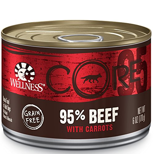 Wellness Core 95% Grain Free Beef & Carrots Natural Wet Canned Dog Food Mixer Or Topper, 6-Ounce Can (Pack Of 24)