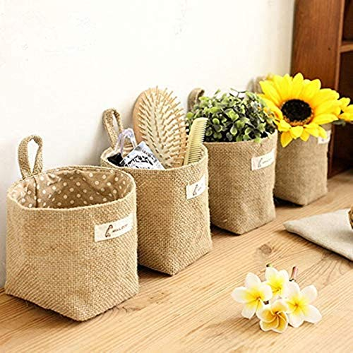 Amatt Bolsa de almacenamiento para colgar, 4 unidades, algodón, lino, cesta de almacenamiento plegable con asa para juguetes, maquillaje u objetos pequeños