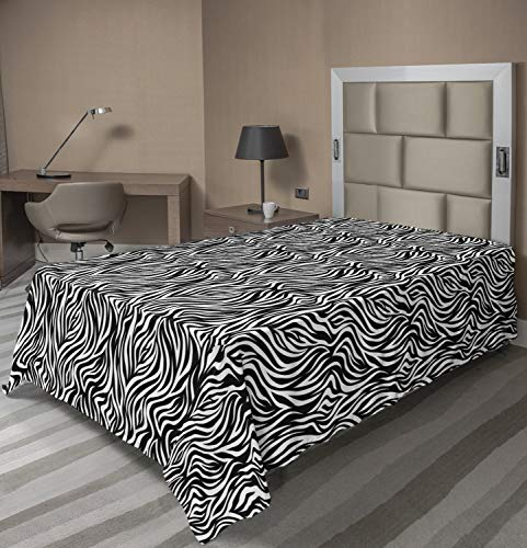 Lunarable White Flat Sheet, Monochrome Abstract Pattern of Zebra Inspired Stripes Animal Print Art, Soft Comfortable Top Sheet Decorative Bedding 1 Piece, Twin Size, Charcoal Grey and White