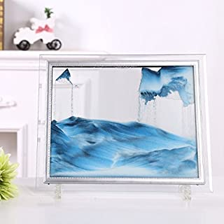 Dynamic Moving Sand Picture,Sand Art,Best Gift to your friend with Gift Card(Black,White,Blue) (M)