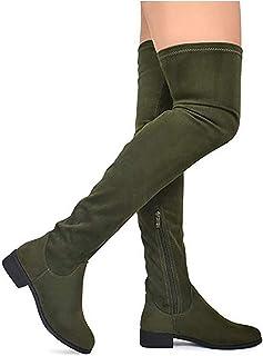 243c88dc41 MVE Shoes Women's Fashion Comfy Vegan Suede Block Heel Side Zipper Thigh  High Over The Knee
