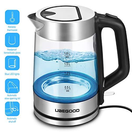 UBEGOOD Glas Wasserkocher, 1.8 Liter Edelstahl Glaswasserkocher mit blauer LED-Innenbeleuchtung, Wasserkocher mit automatischer Abschaltung und Trockengehschutz, 2000W