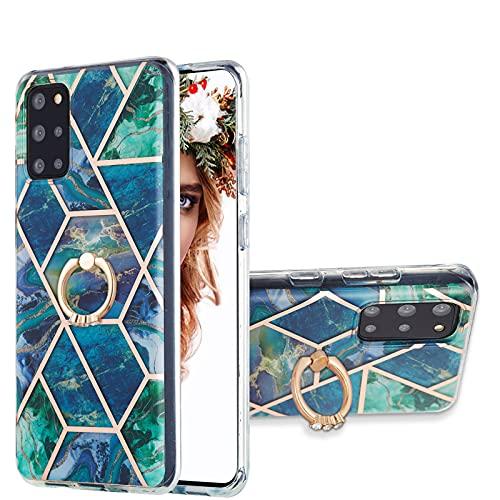 VQWQ Funda Silicona para Samsung Galaxy S20 Plus - Resistente a los Impactos Anti-Choques con Anillo de Metal Carcasa Suave TPU Case Funda para Samsung Galaxy S20 Plus [Mármol] - C 2