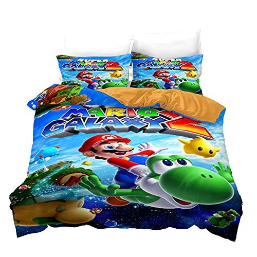 AZJMPKS Super Mario Bros.Bettwã¤sche, 3D-Quiltbezug Aus Mikrofaser, 3D-Cartoon-Animationsmuster, Baumwolle/Renforcé,Bettbezug,Kissenbezug,kinderbettwäsche (A14,155x220cm+75x50cmx2)