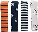 Gerber Baby 4-Pack Receiving Blanket, Happy Tiger, 30' x 30'