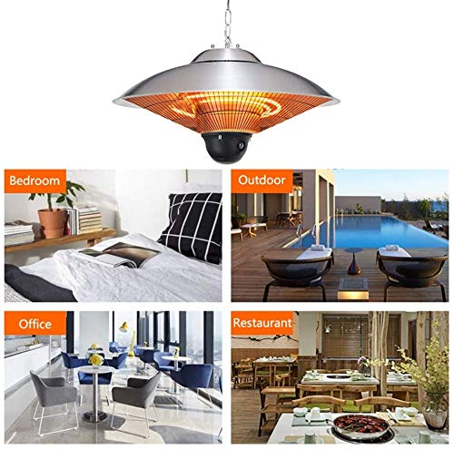 Electric Hanging Ceiling Patio Heater,2KW Infrared Space Heaters with remote control and 3 Power Settings for Indoor…