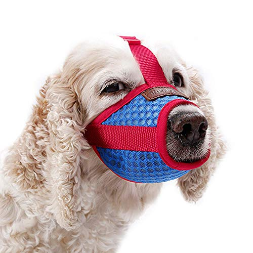 Maulkorb for Hunde, Atmungsaktiv, verhindert Beißen und Bellen YAWJ (Color : Red, Size : M)
