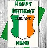 Carte d'anniversaire personnalisée avec bouclier de rugby de l'Irlande – n'importe quel nom et âge imprimés sur le devant
