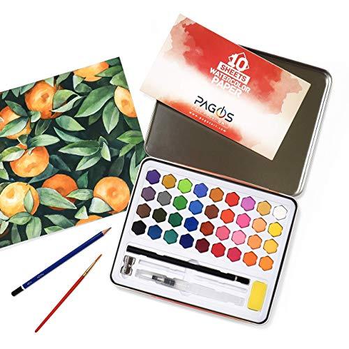 Pagos Aquarellfarben Wasserfarben Farbkasten Kunst Set, 36 lebendigen Farben und 10 Blatt Aquarellpapier, Pinsel, Schwamm, Zeichenstift, Kunststoffpinsel, für Studenten, Kinder, Anfänger, Künstler